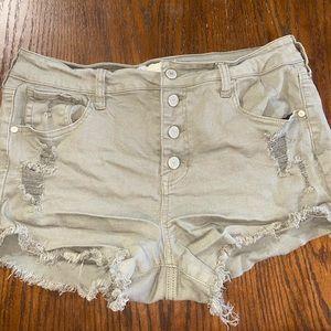 Altar'd state frayed button up denim shorts